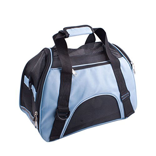 Shineland Airline Approved Pet Carrier Outdoor Carrier Travel Pet Carrier For Dog and Cat, Blue, Small