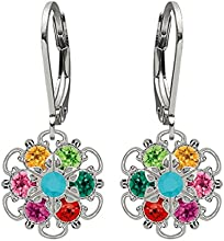 Lucia Costin Silver, Multicolor Swarovski Crystal Earrings with Lovely Flower