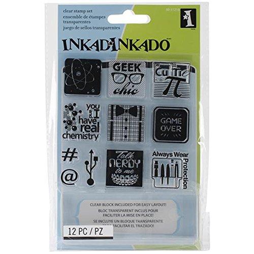 Inkadinkado Inchie Bundle Rubber Stamp, Nerds Geeks
