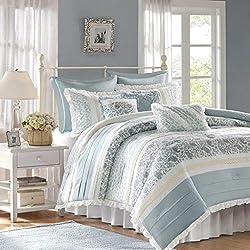 Madison Park Dawn 9 Piece Comforter Set, Queen, Blue