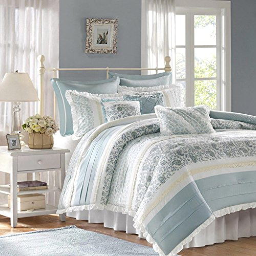 Madison Park Dawn 9 Piece Comfroter Set - Blue - Queen