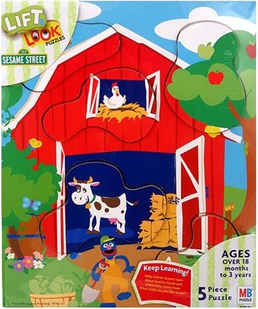 Cheap Hasbro Sesame Street Lift & Look 'Food From the Farm' Wood Puzzle (B002898Q8Y)