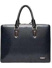 BOSTANTEN Leather Lawyers Briefcase Laptop Handbags Messenger Business Bags For Men Blue