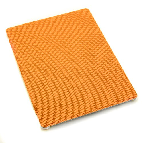 Magnetic Smart Cover Case Protector Flip Stand Upright with Cross Threads for iPad 2 PU Leather Orange (Built in magnet for sleep and awake)