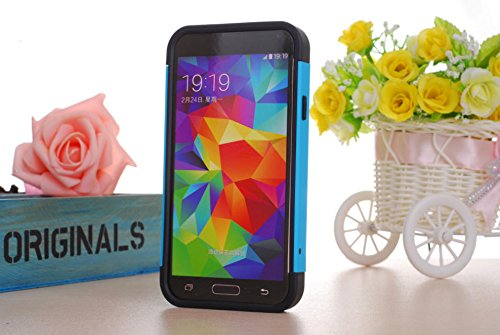 Nancy'S Shop Tpu 2Pc Layered Hard Case Cover Rubber Bumper For Samsung Galaxy S5 Sv (Blue Black White)