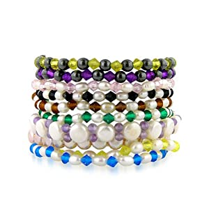 Adjustable 6.5mm-7.5mm Assorted Colors Freshwater Pearl Bracelets