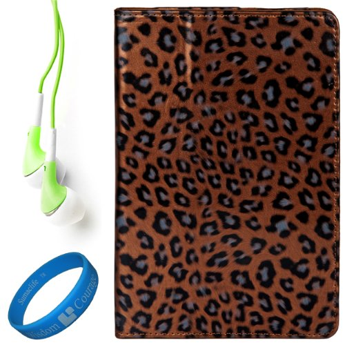 Brown Leopard Executive Leather Case Cover for Samsung Galaxy Tab 7.7 inch Android Wireless Wi fi Tablet (8GB 16GB 32GB Wifi) compatible with all Models + Green Hifi Noise Reducing Premium Headphones with 3.5mm Jack + SumacLife TM Wisdom Courage Wristband