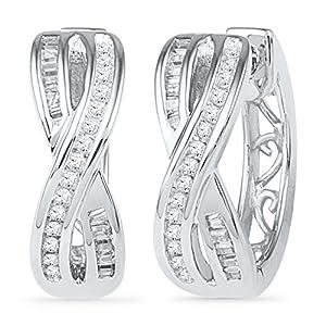 10k White or Yellow Gold Figure Eight Diamond Hoop Earrings with 58 Diamonds