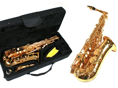 Lindo Student Gold Lacquer Alto Saxophone & Rigid Carry Case + Accessories