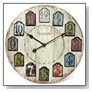 Infinity Instruments Weathered Plank 24-Inch Wood Wall Clock