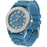 Geneva Platinum CZ Accented Silicon Blue Waist Watch, Large Face