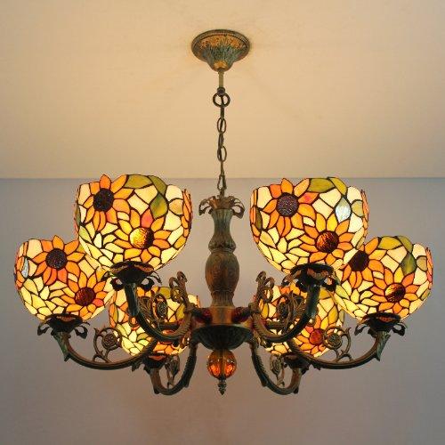 Tiffany 8 pollici lampadario in vetro colorato EUROPEO 6 luci