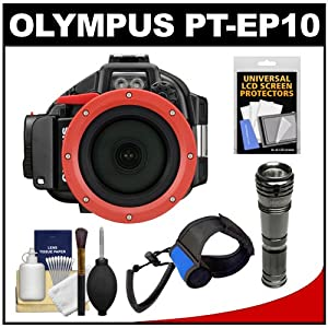 Olympus PT-EP10 Waterproof / Underwater Housing Case for PEN E-PL5 Micro 4/3 Digital Camera with LED Torch Flashlight & Handstrap + Accessory Kit
