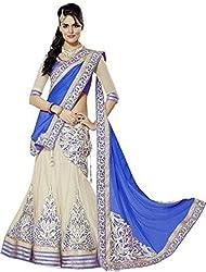 Awesome Fab Blue Colour Georgette Embroidered Semi-stitched Lehenga Choli