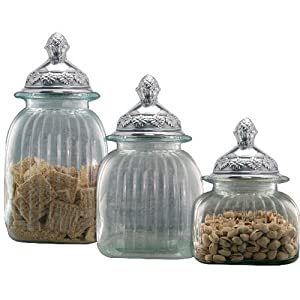 Canisters 3 Piece Set With Mayfair Lid In Clear Health Personal Care