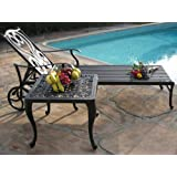 Perris Collection Cast Aluminum Corner Table for Chaise Lounge, Deep Steating Side and End Table