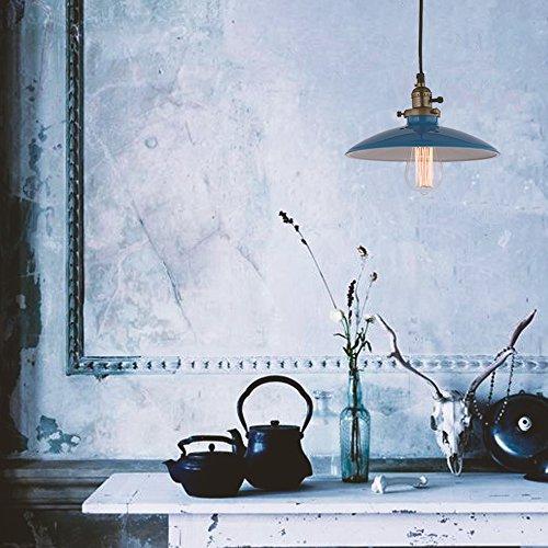JEMMY HO Metal Pendant Light Dia 10 Inches Mini Vintage Industrial Barn Pendant Lamp (Blue) 4