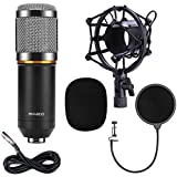 QIBOX BM-800 Pro Dynamic Condenser Microphone Mic for Studio Broadcasting and Recording with Shock Mount, XLR Cable and Pop Filter, 3.5mm, Black