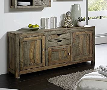 Sheesham massiv Holz Sideboard Palisander Möbel Massivmöbel Nature Grey #89