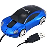 Daffodil WMS207B Wired Optical Mouse - 3 Button Car Shaped PC Mouse with Scrollwheel and LED Lights - For Laptop / Netbook / Desktop Computers - Supported by: Microsoft Windows (8 / 7 / XP / Vista) and Apple MAC (OS X +) - Novelty Porsche Shaped Mouse