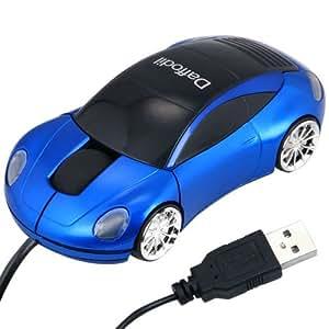 Daffodil WMS207B Mini Souris Optique à Molette Plug and Play USB en Forme de Voiture avec Phares LED Avant et Arrière - Souris d'Ordinateur avec 3 Boutons, Molette et DPI 800 - Pour Laptop / Notebook / Desktop - Compatible avec Microsoft Windows (7 / XP / Vista) et Apple Mac (OS X +) - Porsche Bleue