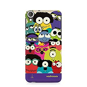 For HTC Desire 820 Doodle Monsters Cartoon Illustration Colourful - Designer Printed High Quality Rubberised Protective Mobile Case by Creative Cases