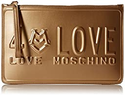 Love Moschino Licence Plate Wristlet Clutch, Gold, One Size