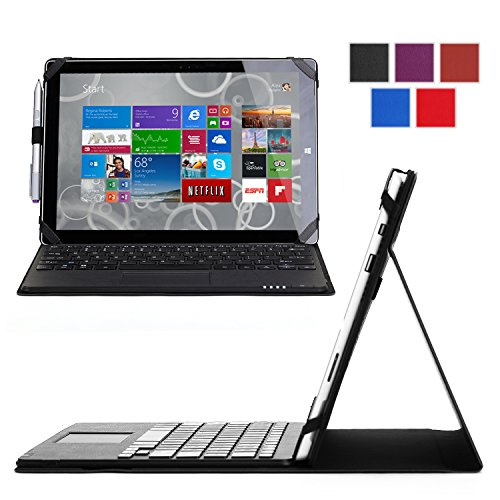 Exact Microsoft Surface Pro 3 Case [Typefolio Series] - Keyboard Cover Case With Removable Bluetooth Wireless Keyboard For Microsoft Surface Pro 3 Tablet Black