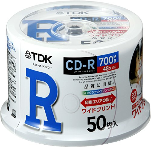 TDK data CD-R 700MB 48 speed corresponding white wide printable spindle 50 pieces of CD-R80PWDX50PA