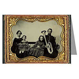 12 Vintage Notecards of Union soldier in uniform with wife and daughters holding saxhorn-Ambrotype of the Civil War