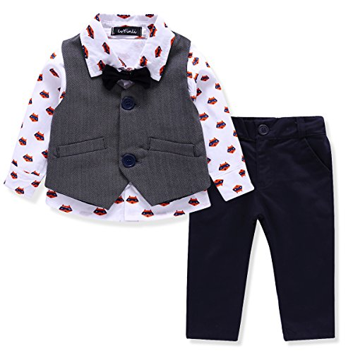 LvYinLi US Baby Boys 4 Pieces Bowtie Gentleman Long sleeve shirt Vest With Pants (13-18 months, Grey)