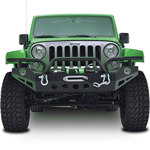 Restyling Factory JK Jeep Wrangler Black Textured Full Width Front Bumper with Fog Light Holes and Winch Plate