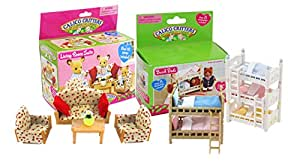 Calico Critters Calico Critters Bunk Beds, Triple Bunk and Living Room Set