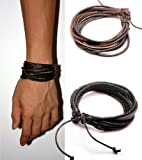 2-Pack Leather Black  Brown Bracelets - Adjustable Wristband - Great For Men, Women, Teens, Boys, Girls