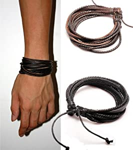 2-Pack Leather Black & Brown Bracelets - Adjustable Wristband - Great For Men, Women, Teens, Boys, Girls