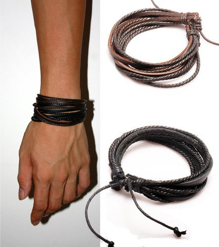2-Pack Leather Black & Brown Bracelets - Adjustable