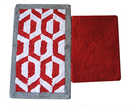 set of 2 bath rugs made of pure cotton hexacone bath rug size 21 x 34 17 x 24 by. Black Bedroom Furniture Sets. Home Design Ideas