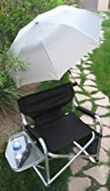 SUMMER SPECIAL!!HEAVY-DUTY Tuscany Folding Aluminum Director Chair w/ UMBRELLA-10 Years Warranty-HIGH QUALITY PRODUCT-A BONUS SOLAR RECHARGEABLE LED FLASHLIGHT INCLUDED WITH YOUR ORDER..