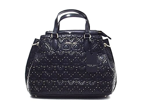 Twin Set borsa donna, All Over Heart AA57YB, borsa a mano e spalla in ecopelle, colore nero