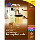 Avery Print - To - The - Edge Rectangular Labels, Glossy Clear, 2 x 3 Inches, 80 Labels (22822)