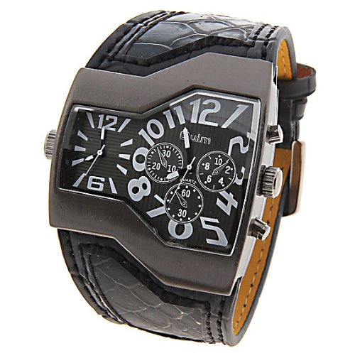 R-style snake pattern band luxury great big twin face analog watch with Microfiber cloth set (with black cross)