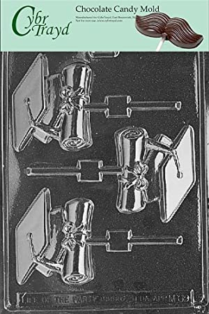 Cybrtrayd M069 Cap and Diploma Lolly Chocolate Candy Mold with Exclusive Cybrtrayd Copyrighted Chocolate Molding Instructions