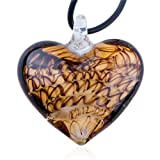Pugster Black Stripe Amber Heart Murano Glass Pendant Necklace