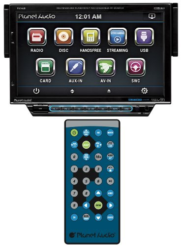 Planet Audio P9742B In-Dash Single-Din 7-Inch Motorized Detachable Touchscreen Dvd/Cd/Sd/Mp4/Mp3 Player Receiver Bluetooth Streaming Bluetooth Hands-Free With Remote