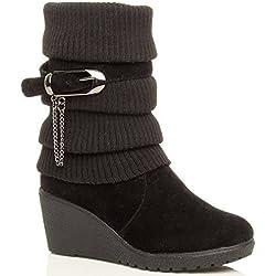 Scarpe da donna tacco medio piattaforma zeppa collare lavorato a maglia stile stivali invernali - Nero, EU 39