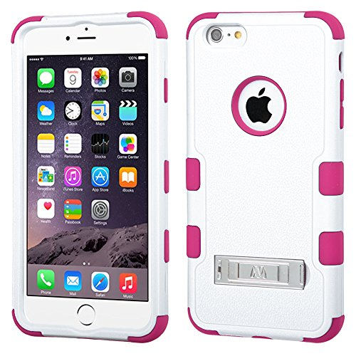 Nagebee(Tm) - Iphone 6 Plus 5.5 Inch Case - Design Premium Heavy Duty Defender Hybrid Phone Cover Case With Metal Stand + {Lcd Screen Protector Shield(Ultra Clear) + Dust Speaker Plug + Touch Screen Stylus} (Stand Hybrid Natural Cream White/Hot Pink)