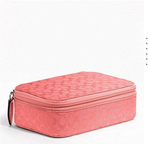 Coach Signature Jewelry Box Nwt Coral/pink Multi Use Case
