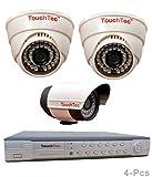 TouchTec-4-Channel-D1-DVR-+-800TVL-3.6mm-Lens-2-Dome-IR-+-1-Bullet-Camera(4Pcs)