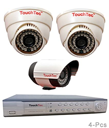TouchTec 4 Channel D1 DVR + 800TVL 3.6mm Lens 2 Dome IR + 1 Bullet Camera(4Pcs)