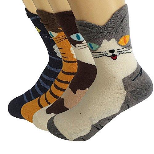 Ambielly cotone calzini termici dei calzini adulti Unisex Calze (4 coppie Gatti)